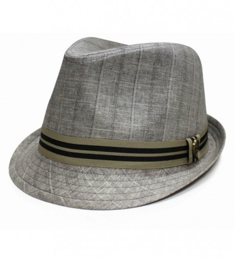 City Hunter Pmt600 Noise Pattern with Stripe Band Fedora (4 Colors) - Light Grey - CT11CV3736F