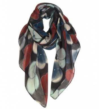 GERINLY Scarf Wrap - Ladies Fashion Oblong Scarves Evening Primrose Flowers Shawls - Black - CQ12MFDDM0V