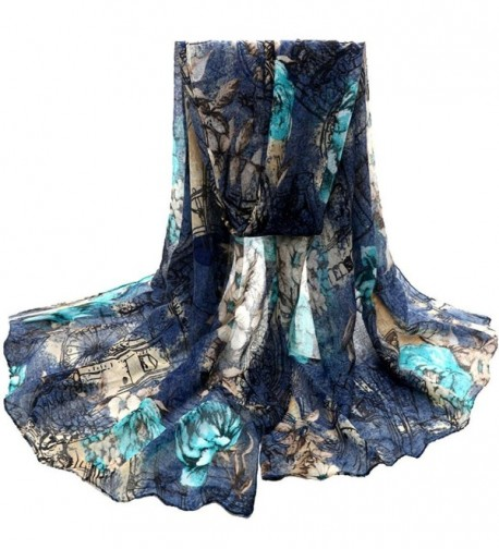 Womens Voile Stole Flower Scarves DZT1968 Long Neck Wraps Shawl - Blue - CQ129S07RUF