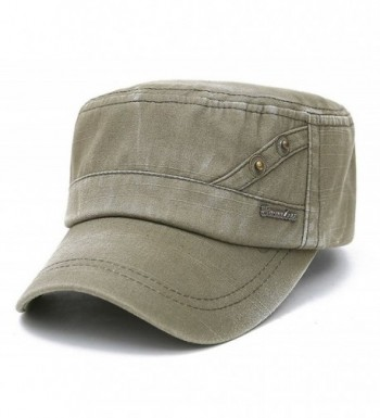 ChezAbbey Solid Brim Flat Top Cap Army Cadet Classical Style Military Hat Peaked Cap - Army Green - CA17YHAT0YM