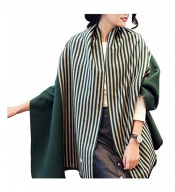 Soft Warm Women's Stylish Tartan Warm Blanket Scarf Gorgeous Shawl Wrap - Green Stripe - CL1880K96X5