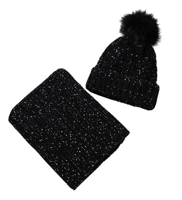 Artone Christmas Knitted Stripe Beanie Hat Scarf Fleece Gloves Winter - Black Hat Scarf Set - CL187K59CD8