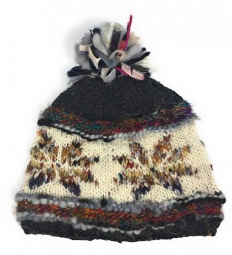 Hand Knit Womens Wool Pom Pom Hat Warm Fleece Lined Nepal - Gray - C012O7WRGBW