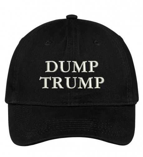 Trendy Apparel Shop Dump Trump Embroidered Brushed Cotton Dad Hat Cap - Black - C517YHYC0ND