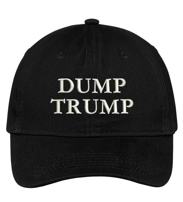 Trendy Apparel Shop Dump Trump Embroidered Brushed Cotton Dad Hat Cap - Black - C517YHYC0ND
