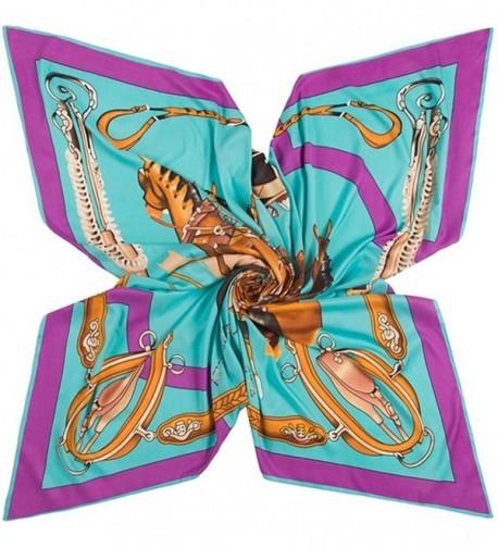 "51.2"" Square Silk Scarf For Women's Scarves Hijab Shawl Pashmina Headband Bandana - Purple - CD185T80R4R"