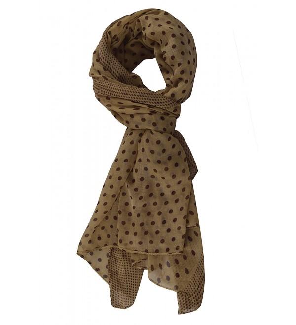 Peach Couture Soft Lightweight Fashion Charming Polka Dot Sheer Scarf Shawl Wrap - Tan/Brown - CH11KNL3MTJ