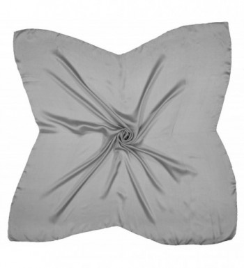 Grey Large Fine Pure Silk Square (35 x 35 inches) Scarf - CD128X6NBNH