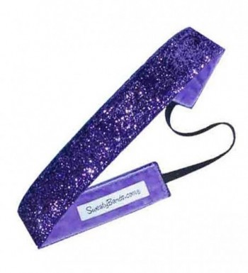 Sweaty Bands Viva Diva Headband- Purple Sparkle- 1-Inch - CV11GJYSI7F