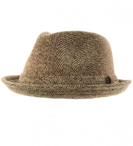 Men's 100% Soft Wool Herringbone Winter Derby Fedora Uprturn Hat - Brown - CI12N1BFPW1