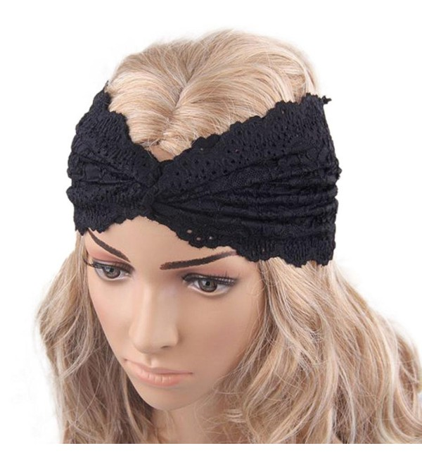 XUANOU Women Headscarf Retro Style Yoga Sport Lace Headband Turban Wrap - Black - CK12MNTUWOL