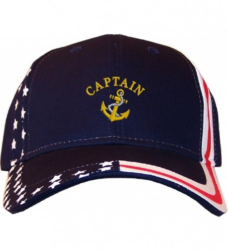 Spiffy Custom Gifts Captain Embroidered Stars & Stripes Baseball Cap Navy - CM12EDNLPUP