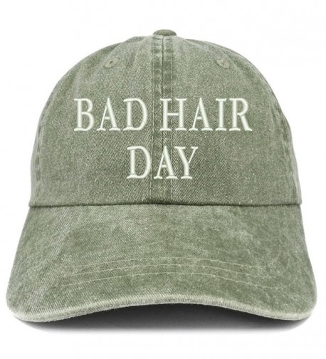Trendy Apparel Shop Bad Hair Day Embroidered 100% Cotton Baseball Cap - Olive - C4185LZ5Y5G
