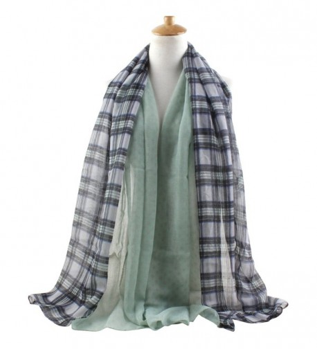 GERINLY - Plaid and Dots Print Cute Scarf Lightweight Summer Wrap - Pale Green - CJ12E3SNTTF