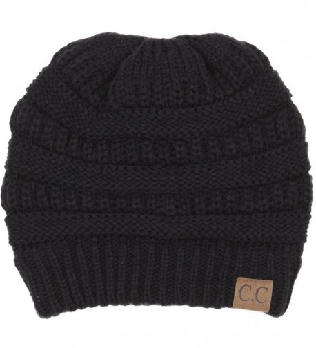 BYSUMMER C.C Warm Soft Cable Knit Skull Cap Slouchy Beanie Winter Hat - Black - C512MX7ZS2D