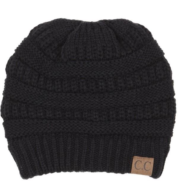 BYSUMMER C.C Warm Soft Cable Knit Skull Cap Slouchy Beanie Winter Hat - Black - C512MX7ZS2D