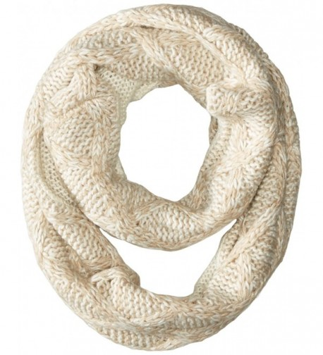 Muk Luks Women's Textured Diamond Eternity Scarf - Vanilla - CW125UF0C1X
