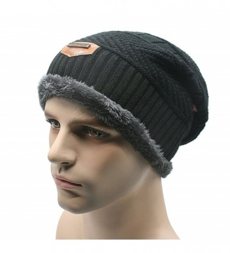 Men's Knit Slouchy Beanie Hats Warm Skull Cap Soft Lined Thick Winter - Black - C812NEOS2FS