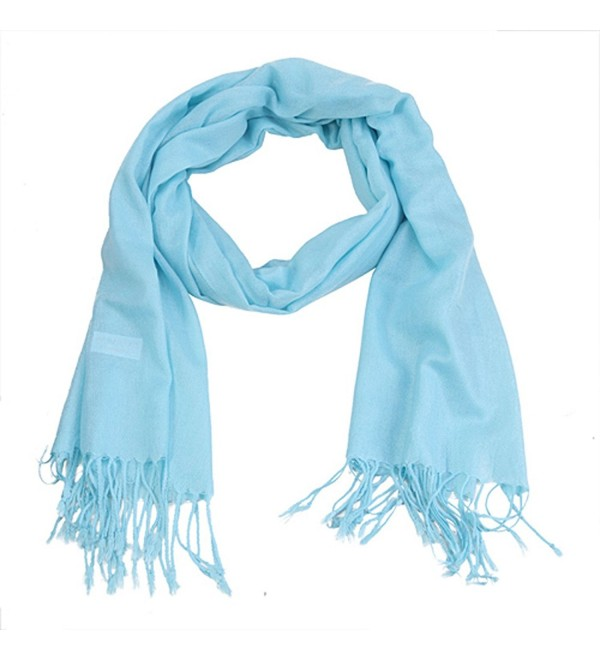 HDE Women's Wrap Scarf Lightweight All Seasons Solid Colors Classic Shawl - Sky Blue - C311C8QRR43