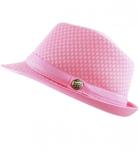 THE HAT DEPOT 200G1015 Light Weight Classic Soft Cool Mesh Fedora Hat - Lt. Pink - CY186SHTYU2