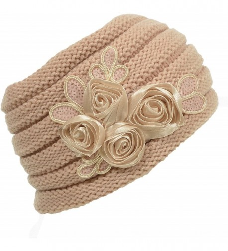 Hand By Hand Aprileo Women's Floral Knitted Headband Sequins Satin Headwrap - Peach. - CD12GUFW391