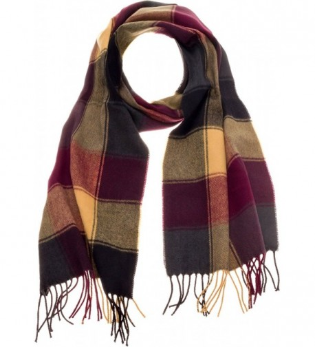 SilverHooks Soft & Warm Plaid Cashmere Scarf w/ Gift Box - Olive Yellow Plaid - CO185WH0WU9