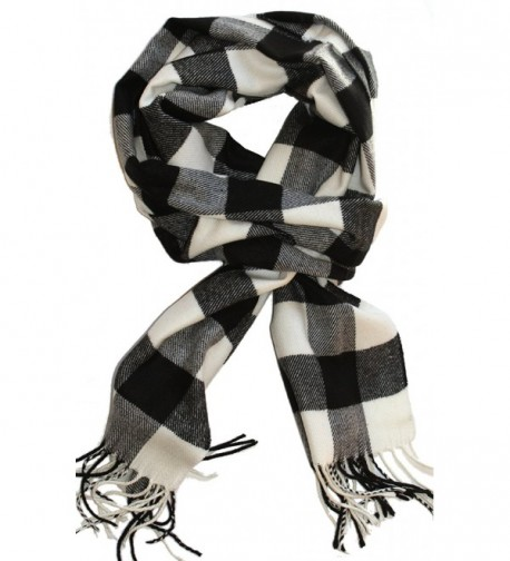 LibbySue--Classic Buffalo Check Plaid- Cashmere Feel Winter Scarf - Black- Whtie - CS110REMIU1