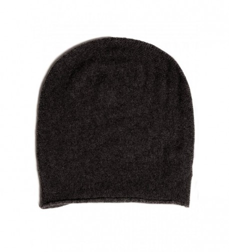Fishers Finery Men's 100% Pure Cashmere Slouchy Beanie - Charcoal - CR11Q0OLBHX