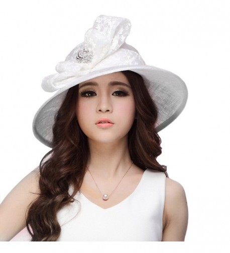 June's Young Women Hat Sinamay Summer White Hat Lace Bow Flower Wide Brim - C311VLP2GW5