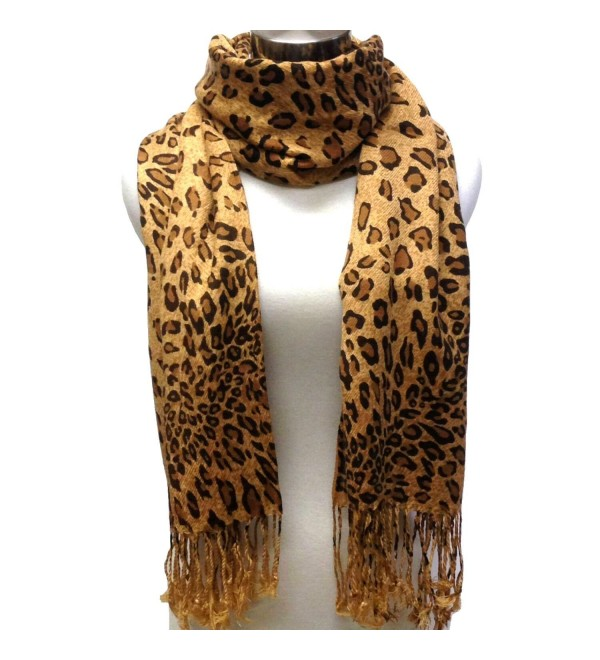 Tapp Collections Premium Fashion Animal Print Shawl Scarf Wrap - Leopard (Coffee Brown) - CI11BCLTHTD