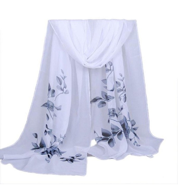 LEERYA Fashion Women Long Soft Wrap scarf Ladies Shawl Chiffon Scarf Scarves - Gray - CS12LVI8GRF