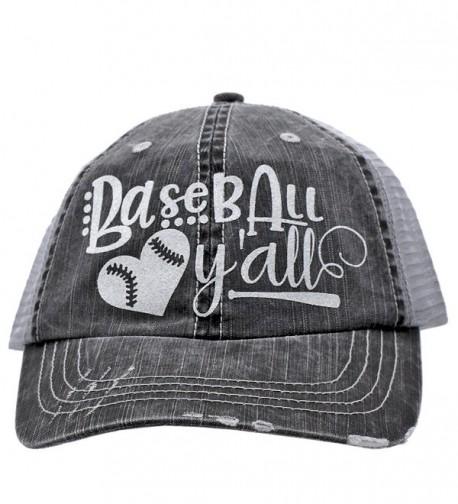 Cowgirl West Softball or Baseball Y'll Sports Distressed Trucker Style Cap Hat - Baseball - C717YXH97CZ