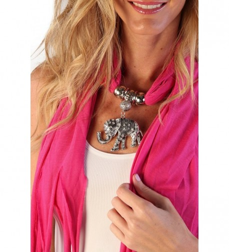 Women's Fashion Pendant Real Metal Elephant Scarf - Fushia - CP11QDKRVIR