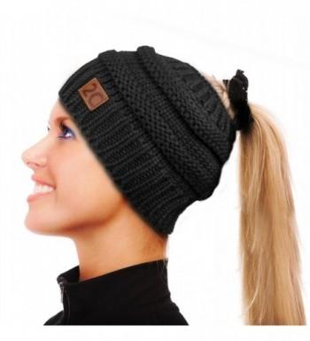 2C Messy Bun Beanie Stretchy Cable Knit Hat Soft Warm Winter Cap - Black - CN1896QUO0U