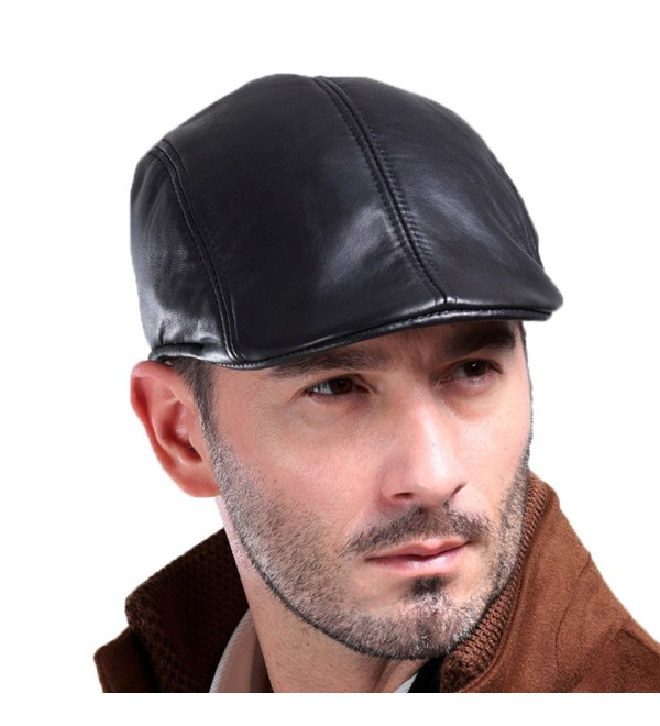 Vemolla Men's Real Leather Fashion newsboy IVY Cabbie Cap Gatsby Flat Golf Hat - Black - C312NTLC3IQ
