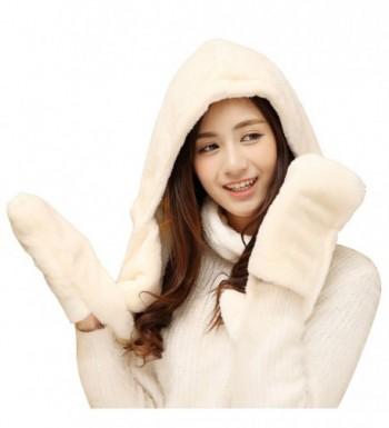 AIVTALK Women Girls Warm Fleece Earflap Hat Hooded Scarf Winter Gloves Pocket - White - CN126APVSPF