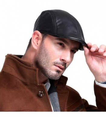 Vemolla Leather Fashion newsboy Cabbie in Men's Newsboy Caps
