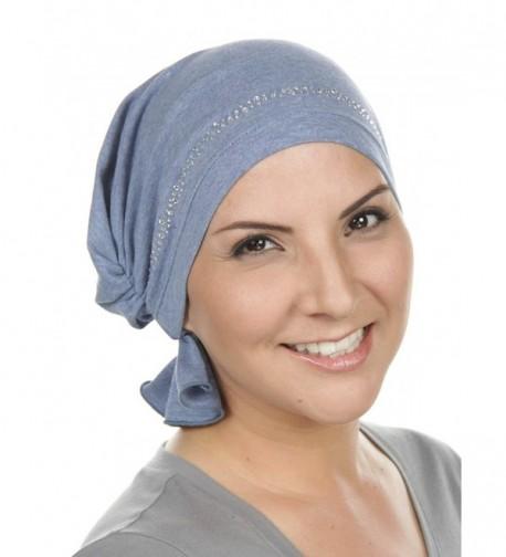 Turban Plus Abbey Cap With Rhinestones Chemo Caps Cancer Hats For Women - 33 -Light Denim W/Clear Crystal Trim - CI182EWROEQ