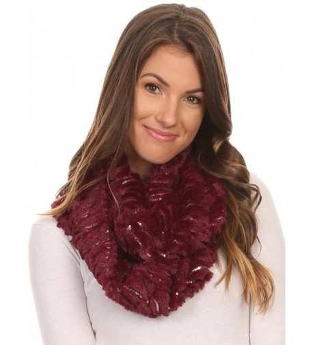 Sakkas Caymen Long Wrap Around Faux Fur Solid Color With Sequins Infinity Scarf - Burgundy - CT12MX64FAF