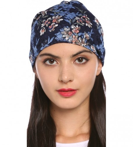 Ababalaya Women's Elegant Floral Lace Turban Cap Chemo Cancer Beanie Cap Nightcap - Sapphire - C4182SEHS97