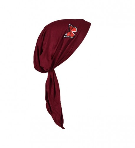 Pre Tied Chemo Head Scarf Bandana Headwear - Red Butterfly - Burgundy - CG180SM5MRL