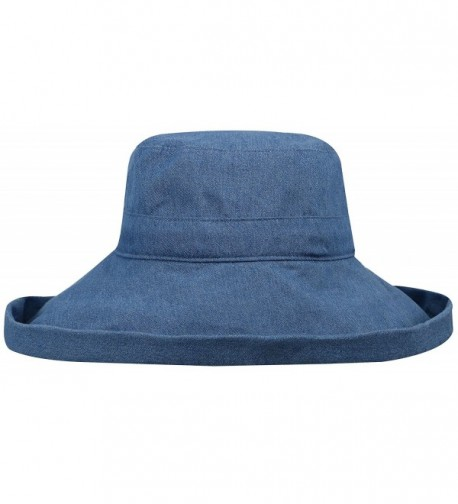 AshopZ Women's Sun Protective Foldable Wide Brim Cotton Bucket Hat - Denim Blue - CC12GV0L8AT