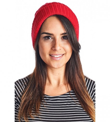 High Style Unisex Merino Wool Cashmere Stretch Cable Knit Slouch Beanie with Lining - Dark Red - CJ1297JRVET