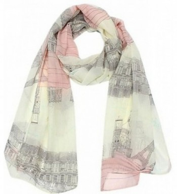 UGET Women's Voile Soft Long Scarf Eiffel Tower Printed Wrap Shawl Stole Scarves - CL126XCEOW5