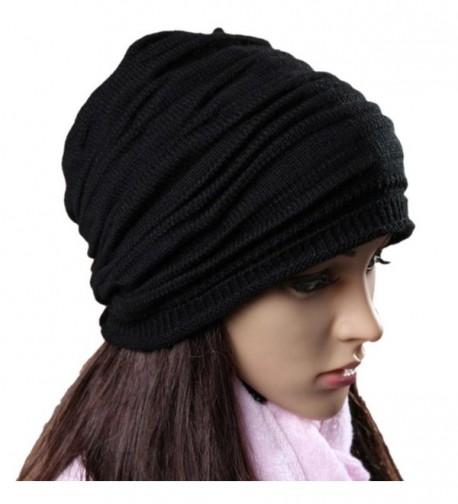 Perman Unisex Men Women Winter Hat Baggy Beanie Knit Crochet Ski Slouch Cap - Black - CJ12O680GFP
