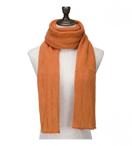 WINCAN Women's Fashion Long Scarf Winter Warm Infinity Scarves Pure Color - Orange - CZ12NEQPGOH