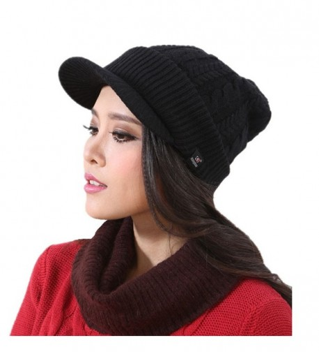 Connectyle Women's Warm Bill Winter Hats Slouchy Cable Knitted Beanie Cap with Visor - Black - CV1274YXM6Z