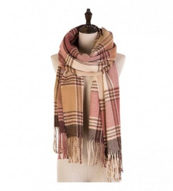 eUty Autumn Winter Soft Stripe Scarf- Pink/Cream - CR12N5H1F6E