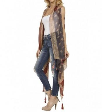 Patriotic Tassle Accent Vintage American in Fashion Scarves