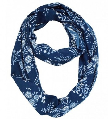 Peach Couture Exclusive Vintage Floral Prints Infinity Loop Scarves Light Scarf - Navy - C2123V1QMN5